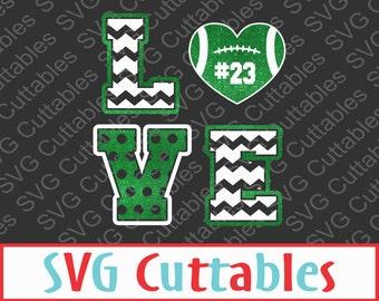 Football Love SVG, EPS, DXF, Vector, Digital Cut File