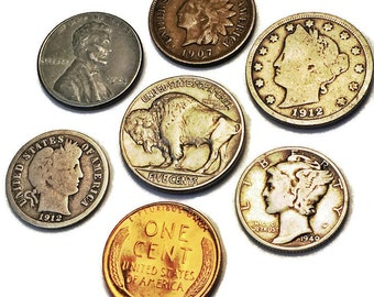 Rare Coins Collection / Silver Coins / Barber Dime / Mercury Dime / Indian Head Penny / Buffalo Nickel / V Nickel / BU & Steel Wheat Pennies
