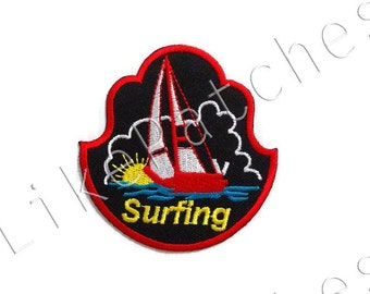 Surfing Red Sailing - Black Patch New Sew / Iron on Patch Embroidered Applique Size 7.4cm.x7.7cm.