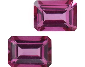 Mystic Magenta Topaz Octagon Cut Loose Gemstones Set of 2 1A Quality 7x5mm TGW 2.20 cts.