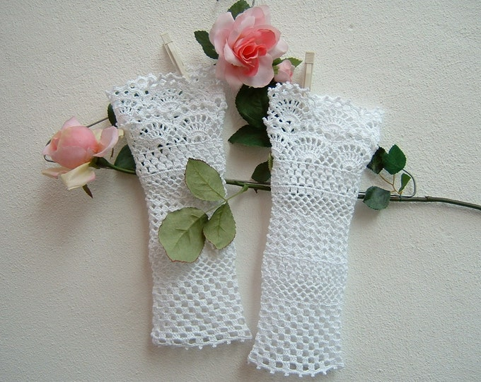 Featured listing image: Romantic lace crochet cuffs-white cotton Sleeves for wedding-bridal and bridesmaids Gloves-fingerless white gloves