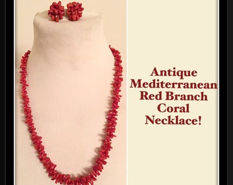 Antique Natural Mediterranean Red Coral Necklace & Earrings Set!
