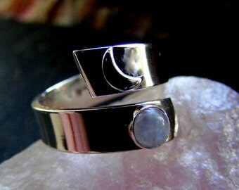 Silver Coil Moon Ring with Moonstone Wraparound crescent moon ring