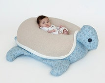 Kids furniture, Baby bean bag pillow ,Nursery decor pillow, Turtle Beanbag, mocha & blue Paisley, beanbag chair, baby nest, stuffed animal,
