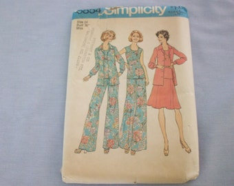 Simplicity Pattern #6854 Misses' Size 14 Blouse, Top, Skirt, Wide-Leg Pants