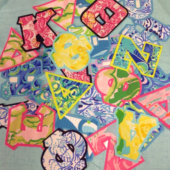 Designer lilly pulitzer standard or greek iron on letters and for Lilly pulitzer sorority letters