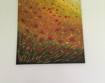 Original acrylic painting,Poppies at sunset,