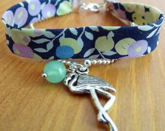 Flowered liberty bracelet flamingo and jade fabric