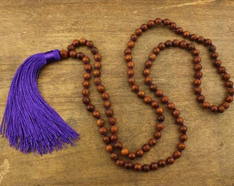 Wood beads necklace - purple tassel necklace -100 cm necklace - 8 mm wood beads - party tassel necklace