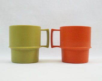 Vintage Pair of Tupperware Mugs - Avocado Green, Orange, 1970s, Stack-able Mugs
