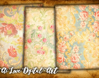 Baroque Flowers instant download card making, digital collage sheet printable images, shabby chic vintage ephemera, aceo cards, scrapbooking