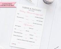 Wedding mad libs (10) - Wedding advice card - Mad libs wedding - Wedding guest libs - Marriage advice cards - Wedding madlibs