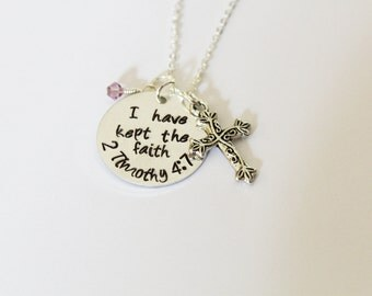 2 Timothy 4:7 I Have Kept The Faith Necklace, Hand-Stamped Jewelry, Aluminum Stamped Disc, Swarovski Crystal, Cross Charm