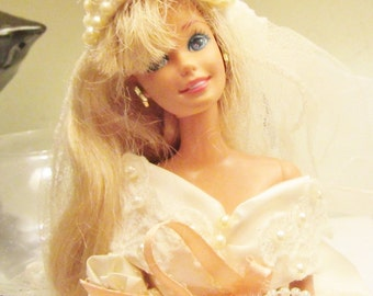 bride Barbie doll wedding dress bridal gown Hand made satin