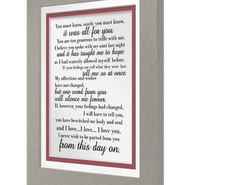 You Have Bewitched Me Body and Soul, Mr. Darcy Quote, Pride and Prejudice Print #2