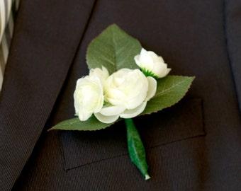 Silk White Ranunculus Boutonniere