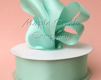 7/8 inch x 100 yards of Aqua Double Face Satin Ribbon - shines on both sides