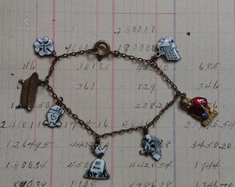 Antique Vintage Child's Enamel Charm Bracelet