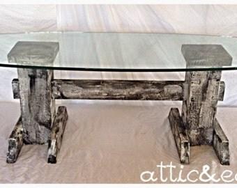 Glass coffee table with barn wood base
