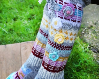 Thigh High Wool Socks, Hand knitted socks, Over the knee socks, Colorful handmade socks, Unique womens socks, Hippie socks