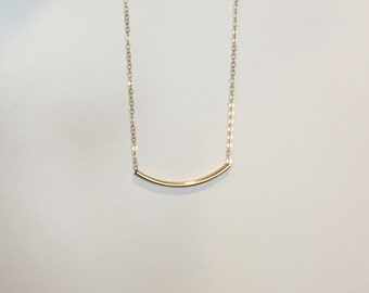14k gold filled Curved Bar Necklace