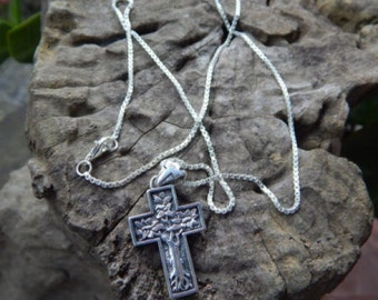 Silver cross necklace tree motif
