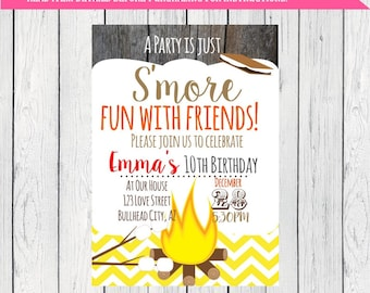 S'mores Birthday invitation ***Digital File*** (Smores-Chev01)