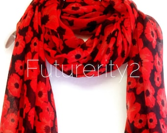 Small Red Poppy Black Scarf / Spring Summer Scarf / Gift For Her / Womens Scarves / Fashion Accessories