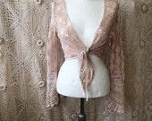 Lace cardigan extraordinary ,boho rose colored cardigan,handmade lace cardigan , boho wrap lace, repurposed crochet wrap,summer wrap,unique
