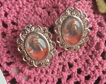 Glass cabochon vintage style pin up stud earrings, handmade by Vintage Laura xx