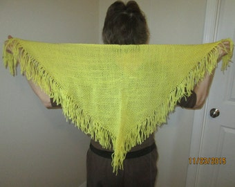 Small yellow hand woven triangular shawl