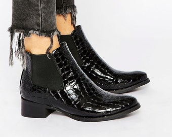Black Crocodile Patent Leather Ankle Boots 8