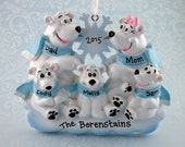 5 Polar Bears Personalized Ornament - Polar Bear Family of Five Floating on Ice - Hand Personalized Christmas Ornament