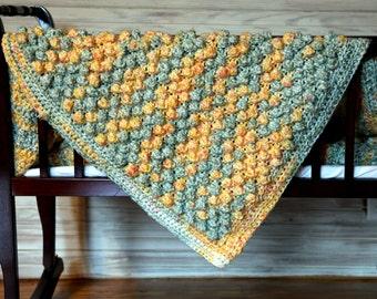 Crocheted Popcorn Afghan
