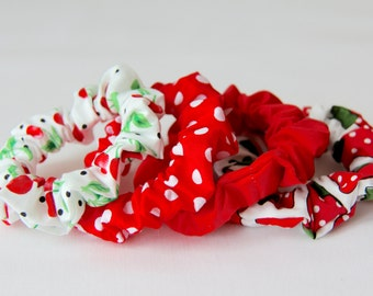 Hair Scrunchies, Red Scrunchie, Polkadot Scrunchie, Strawberry Scrunchie, Cherry Scrunchie, Fruit Scrunchie, Cotton Scrunchies