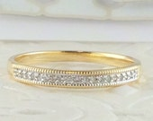 ON SALE Womens Diamond Wedding Band Yellow Gold Thin Anniversary Stacking Mothers Ring April Push Gift