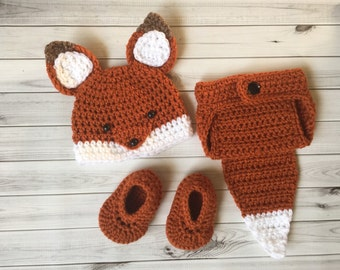 Crochet Newborn to 3 Months Fox Photo Prop Outfit