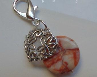 Veined Jasper Coin Bead Beaded Heart Keyring ~ Gemstone Crystal Healing ~ Unique Ooak Gift