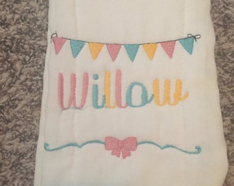 Bunting and bow burp cloth