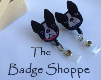 Boston Terrier with Blue Collar or Pink Collar on a Retractable ID Badge Holder. Dog Clip, Pet badge, Pediatric badge.