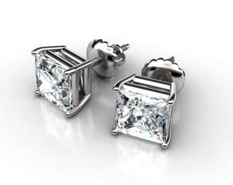 1ct Princess Diamond Stud Earrings, Square diamond earrings, yellow gold diamond studs, white gold diamond earrings, princess diamond studs