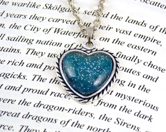 Glitter Heart Pendant, Blue Heart Necklace, Glitter Necklace, Heart Necklace, Valentine's Gift