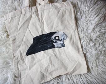 Original hand-painted hornbillskull totebag bird skull bag