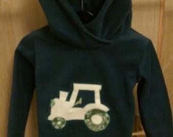 Children's Fleece Tractor Hoodie Age 3-4