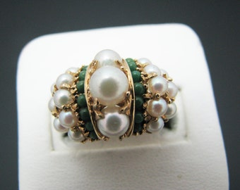 Stunning Vintage Pearl and Jade? Cluster Ring in 14k Yellow Gold