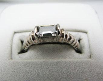 Emerald Cut White Stone Ring in Sterling Silver