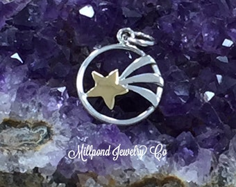 Shooting Star Charm, Shooting Star Pendant, Sterling Silver with Bronze Star, Celestial Charm, Celestial Pendant, PS01616