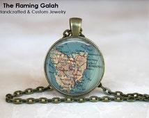 Vintage TASMANIA Map Pendant. Australia. Key Ring. Map Necklace. Silver/Bronze Pendant. Gift Under 20. Handmade in Australia (P1176)