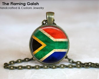 SOUTH AFRICAN Flag Pendant • RSA Flag • Vintage South Africa Flag • GIft Under 20 • Made in Australia (P0482)