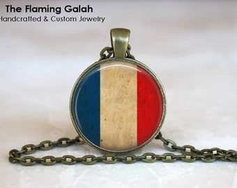 FRENCH Flag Pendant • Vintage Tricolore • Vintgae France Flag • Red White and Blue • Gift Under 20 • Made in Australia (P0432)